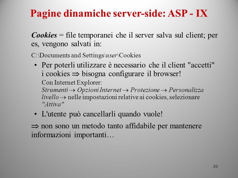 Pagine dinamiche server-side: ASP - IX