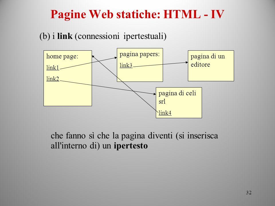 Pagine Web statiche: HTML - IV