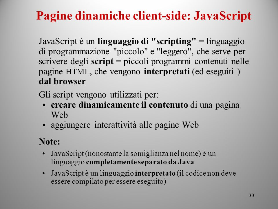 Pagine dinamiche client-side: JavaScript