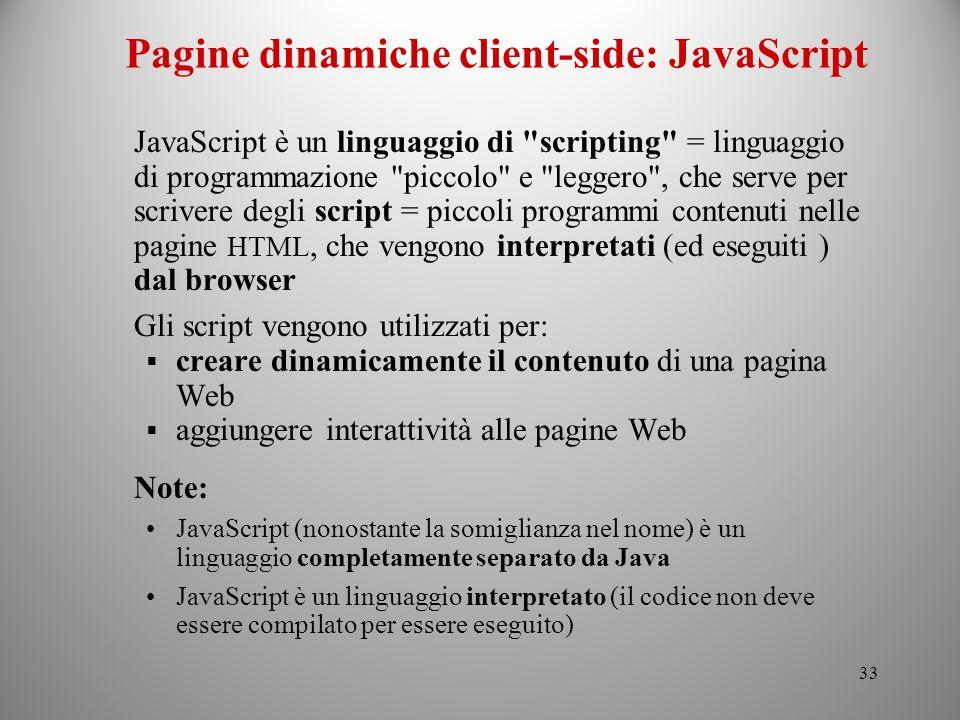 Pagine dinamiche client-side: JavaScript