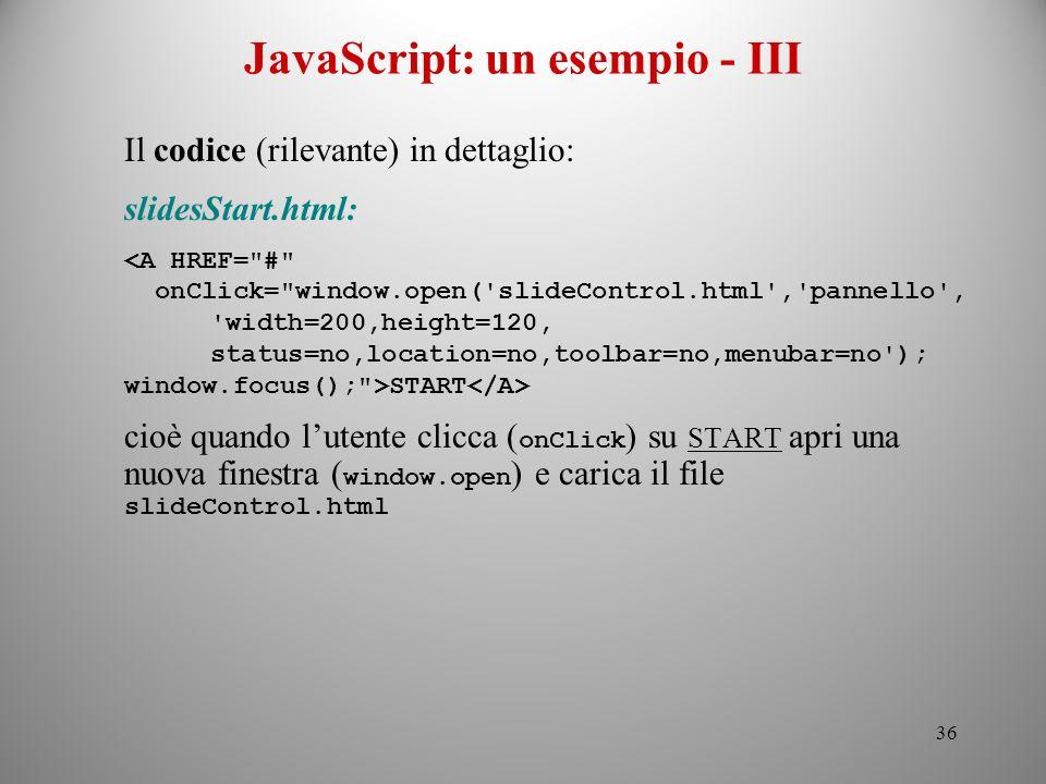 JavaScript: un esempio - III