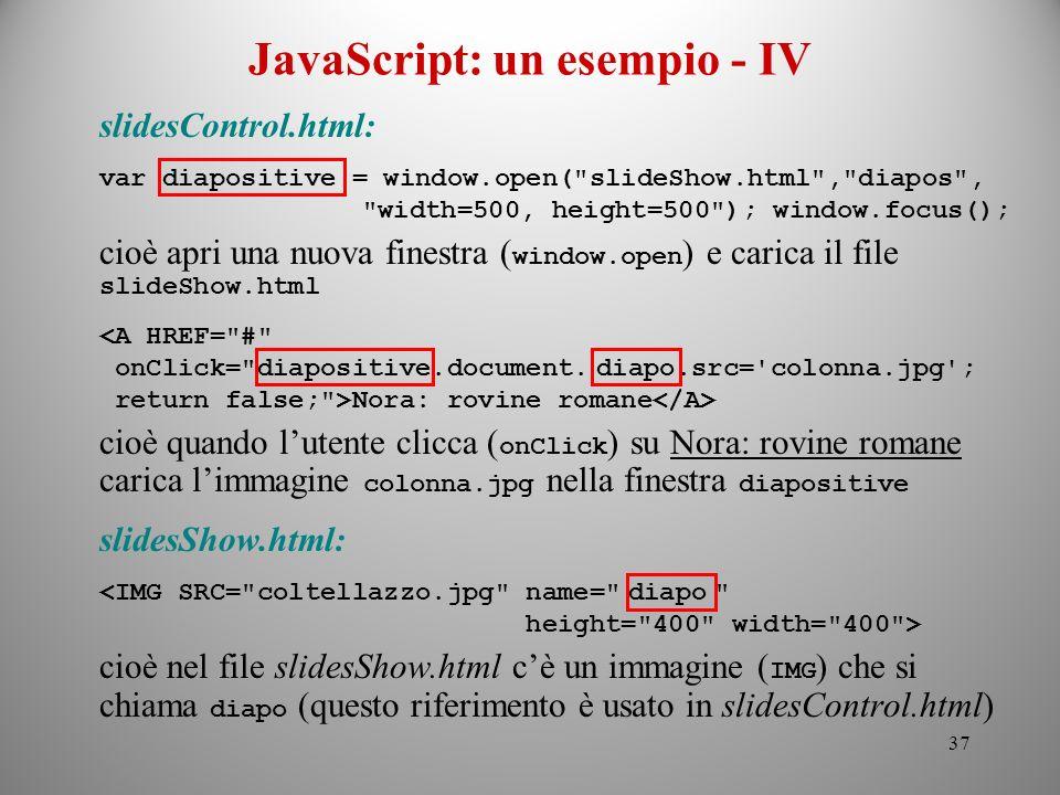 JavaScript: un esempio - IV
