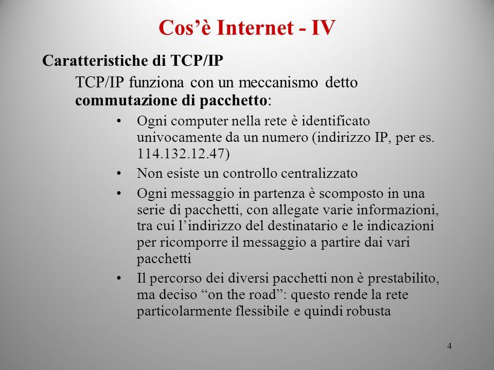 Cos'è Internet - IV Caratteristiche di TCP/IP