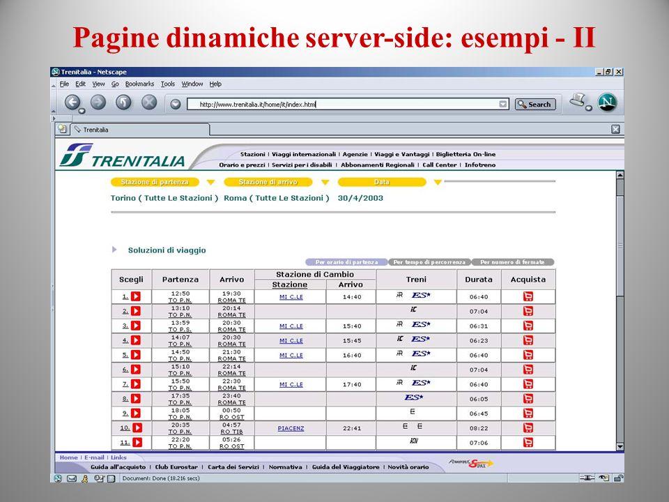 Pagine dinamiche server-side: esempi - II
