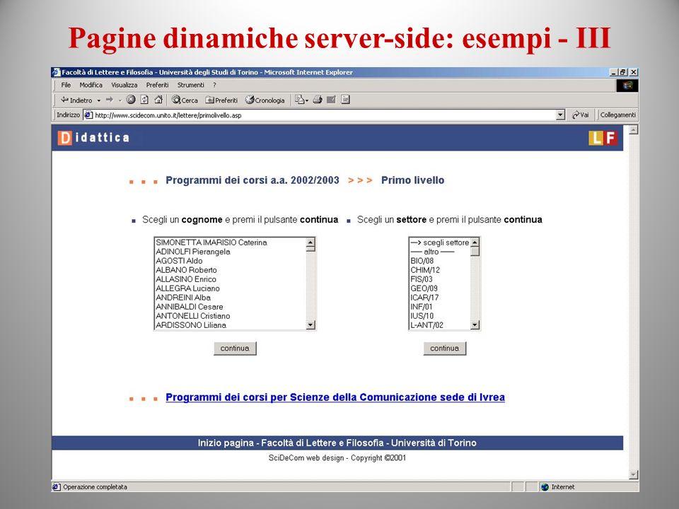 Pagine dinamiche server-side: esempi - III