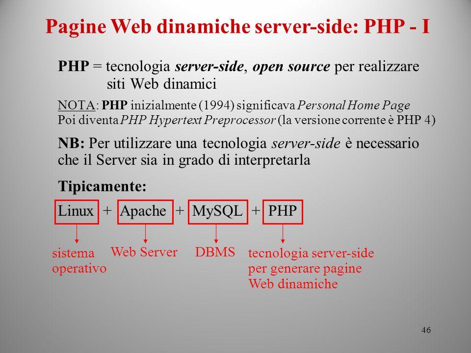 Pagine Web dinamiche server-side: PHP - I