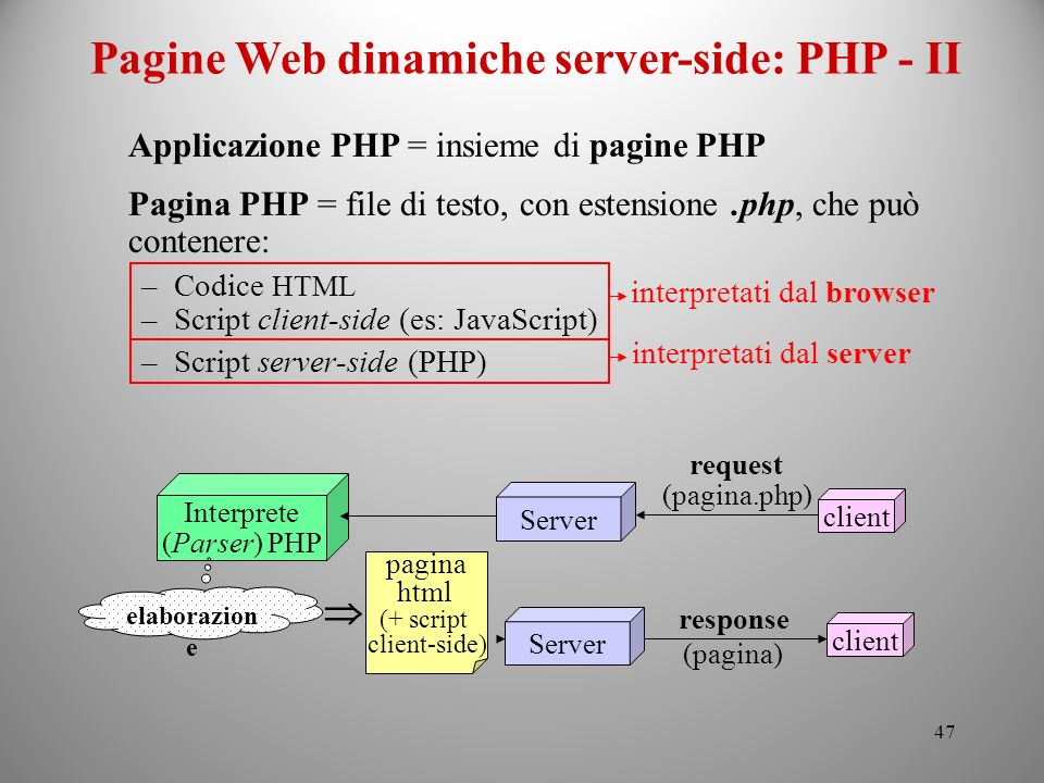 Pagine Web dinamiche server-side: PHP - II
