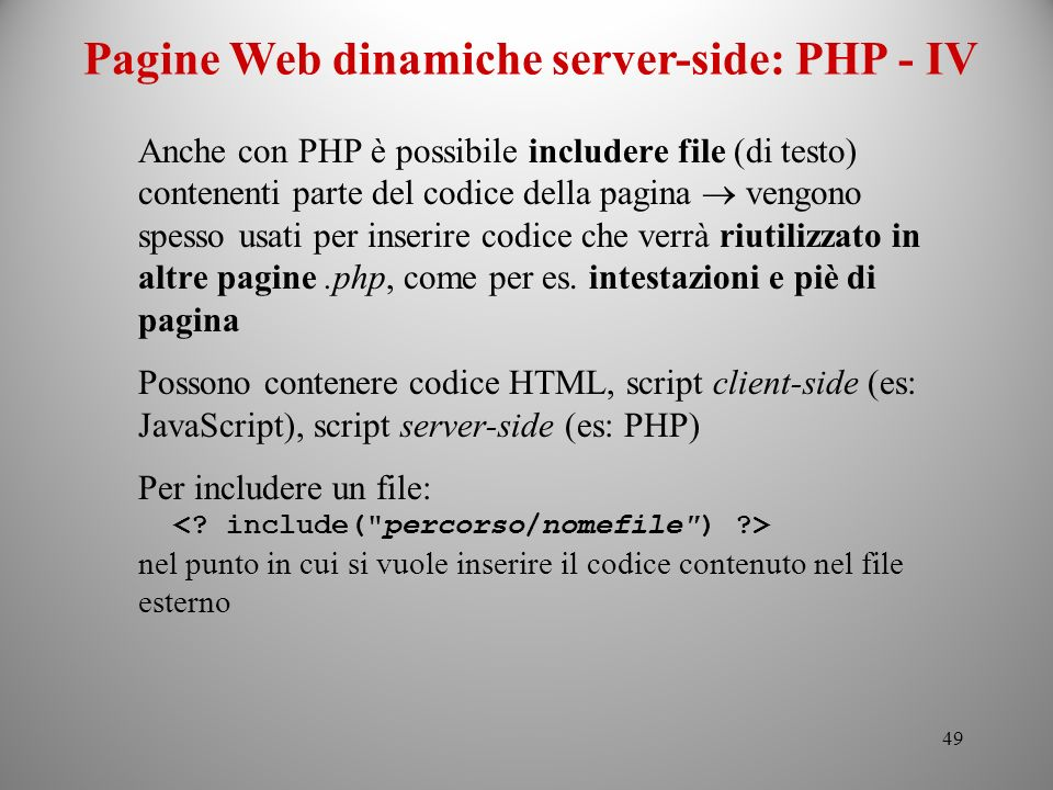 Pagine Web dinamiche server-side: PHP - IV