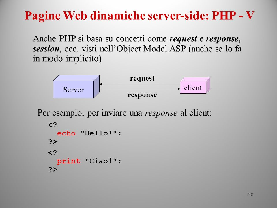 Pagine Web dinamiche server-side: PHP - V