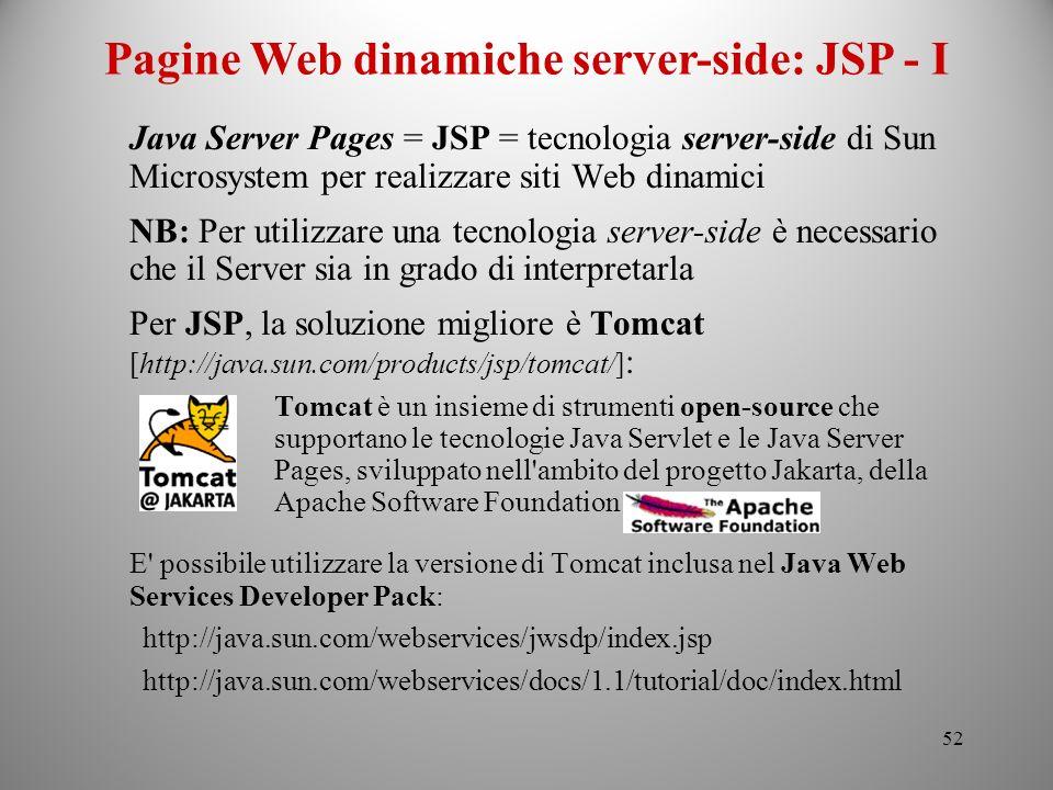 Pagine Web dinamiche server-side: JSP - I