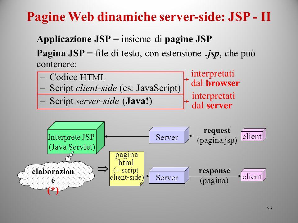 Pagine Web dinamiche server-side: JSP - II