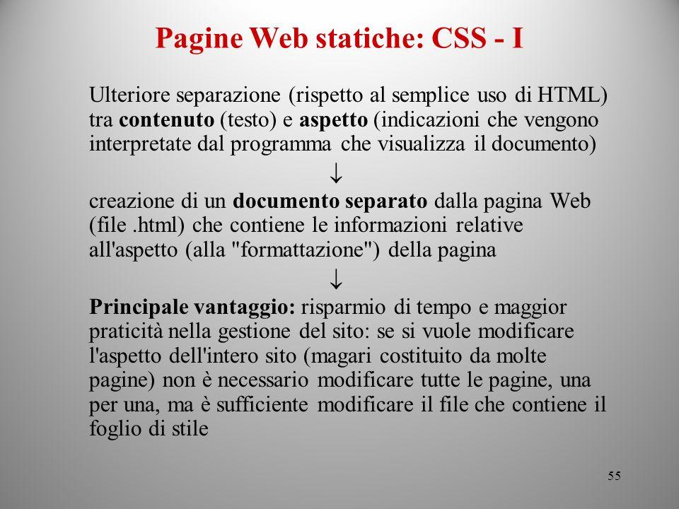 Pagine Web statiche: CSS - I