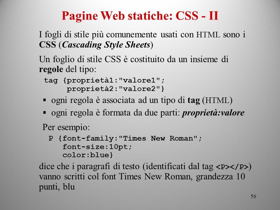 Pagine Web statiche: CSS - II