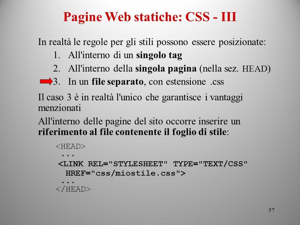 Pagine Web statiche: CSS - III