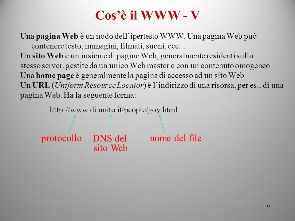 Cos'è il WWW - V protocollo nome del file DNS del sito Web