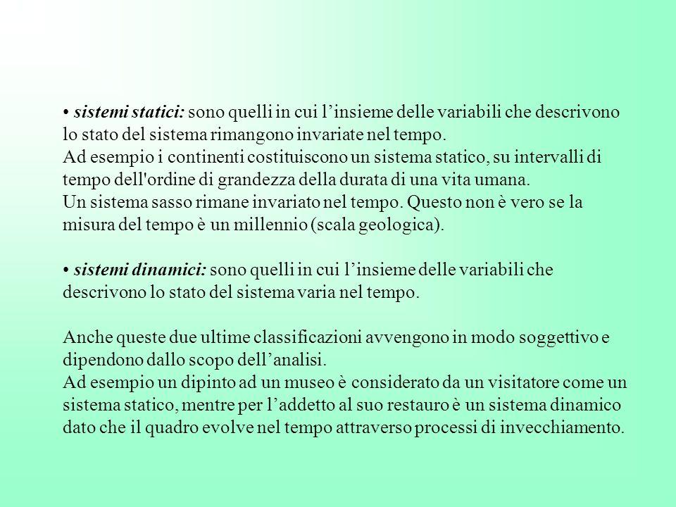 sistemi statici: sono quelli in cui l'insieme delle variabili che descrivono lo stato del sistema rimangono invariate nel tempo.