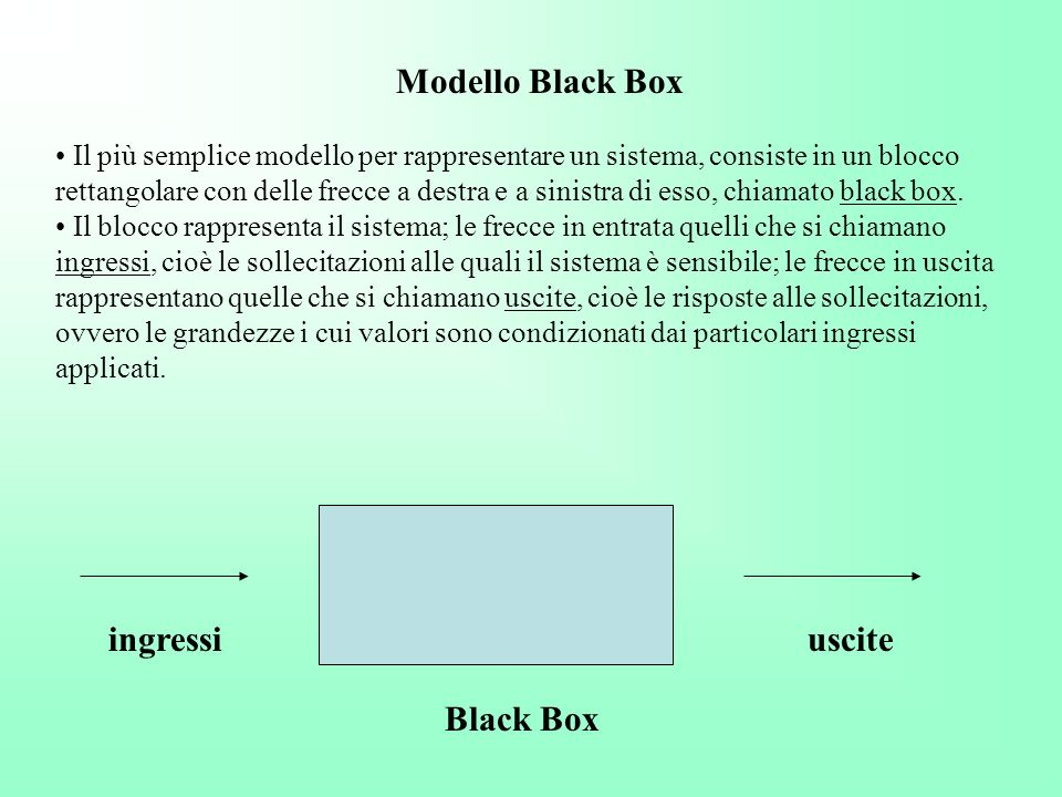 Modello Black Box ingressi uscite Black Box