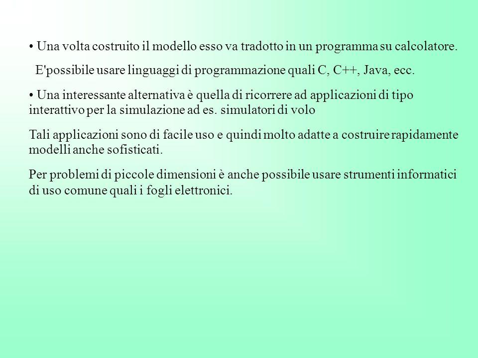 Una volta costruito il modello esso va tradotto in un programma su calcolatore.