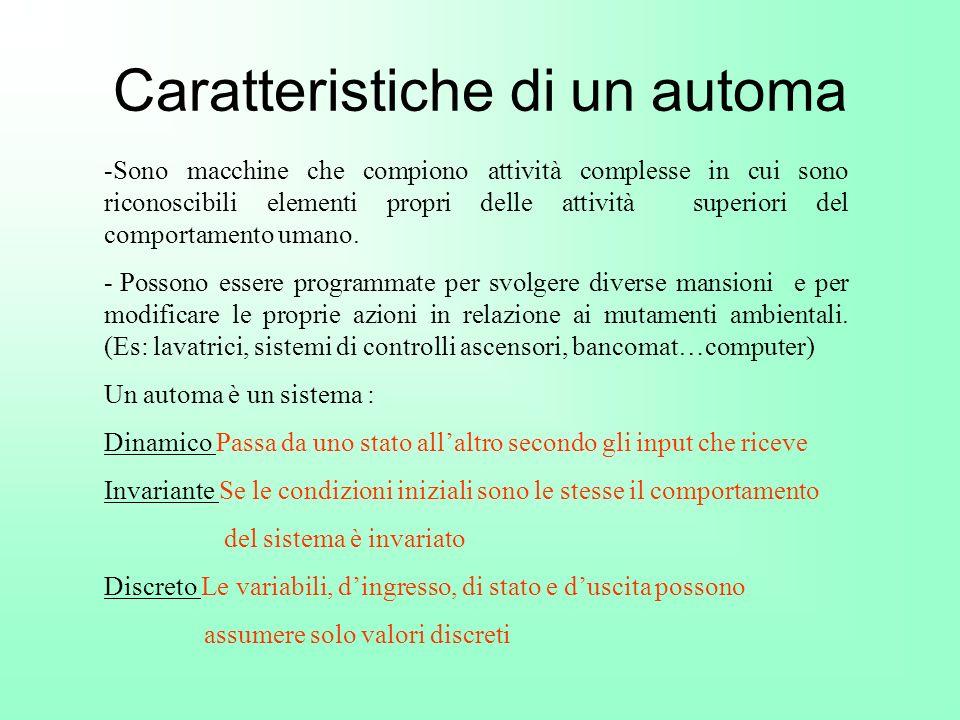 Caratteristiche di un automa