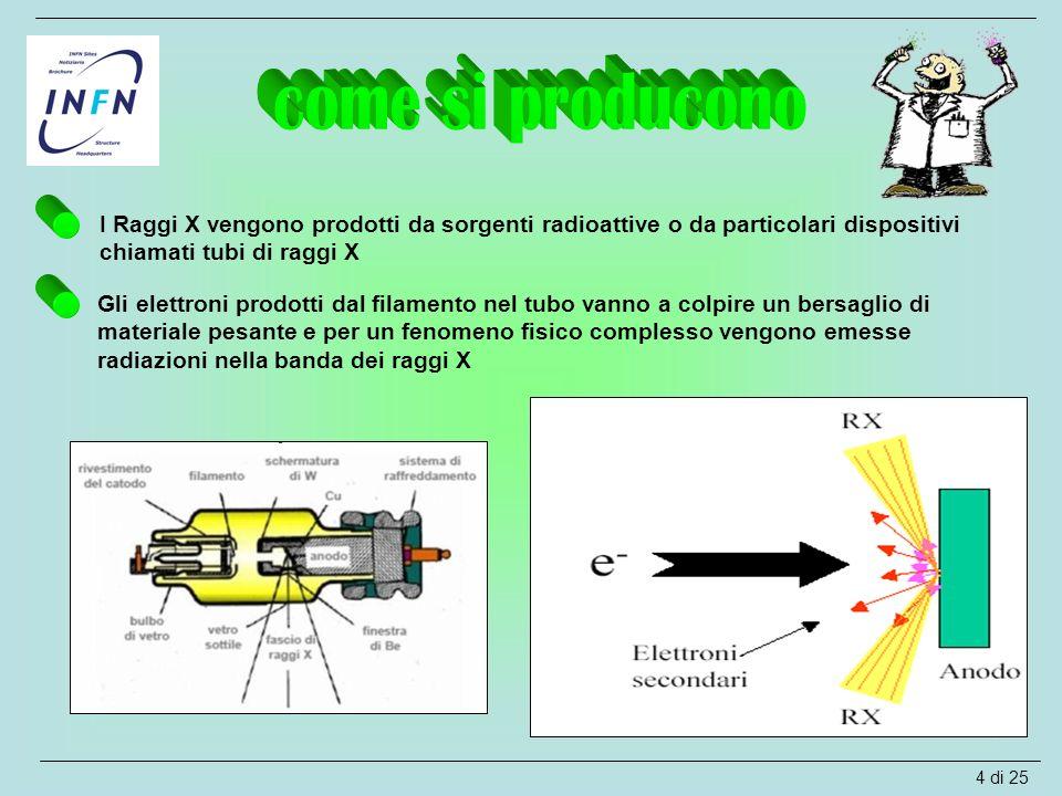 come si producono I Raggi X vengono prodotti da sorgenti radioattive o da particolari dispositivi chiamati tubi di raggi X.