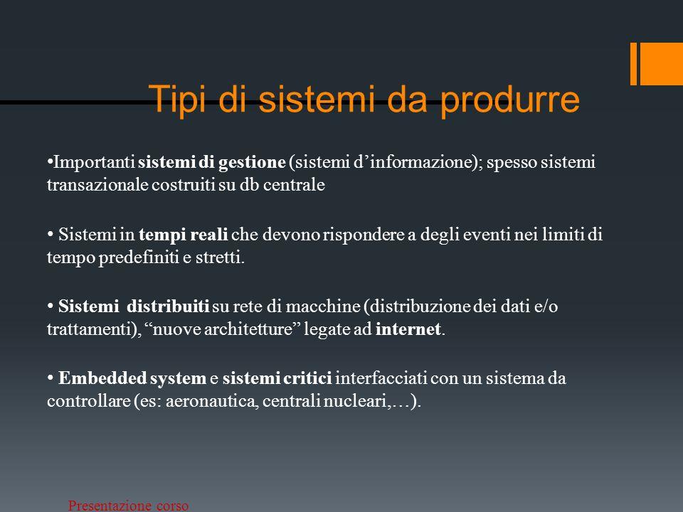 Tipi di sistemi da produrre