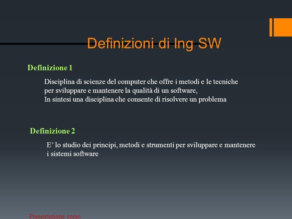 Definizioni di Ing SW Definizione 1 Definizione 2