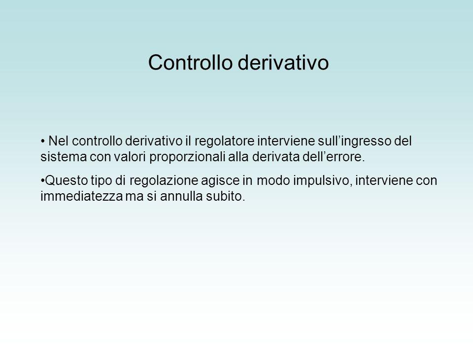 Controllo derivativo Nel controllo derivativo il regolatore interviene sull'ingresso del sistema con valori proporzionali alla derivata dell'errore.