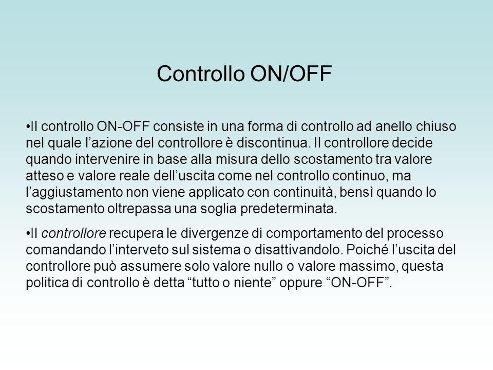 Controllo ON/OFF