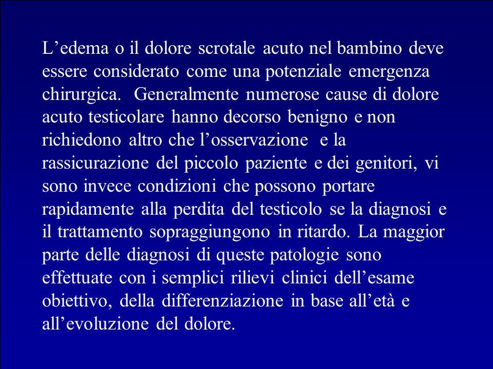 L'edema o il dolore scrotale acuto nel bambino deve essere considerato come una potenziale emergenza chirurgica.