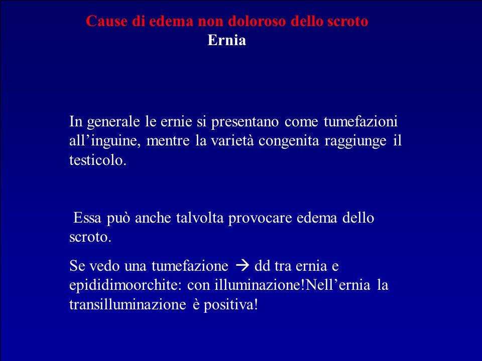Cause di edema non doloroso dello scroto Ernia