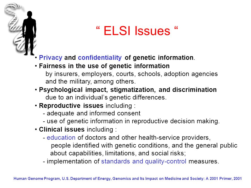 ELSI Issues • Privacy and confidentiality of genetic information.