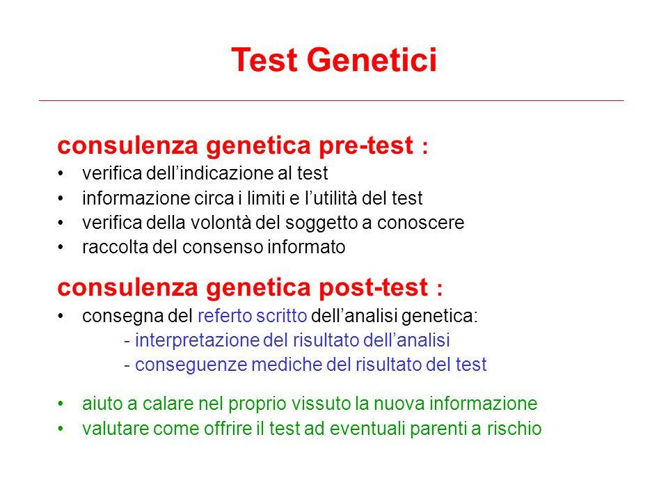Test Genetici consulenza genetica pre-test :