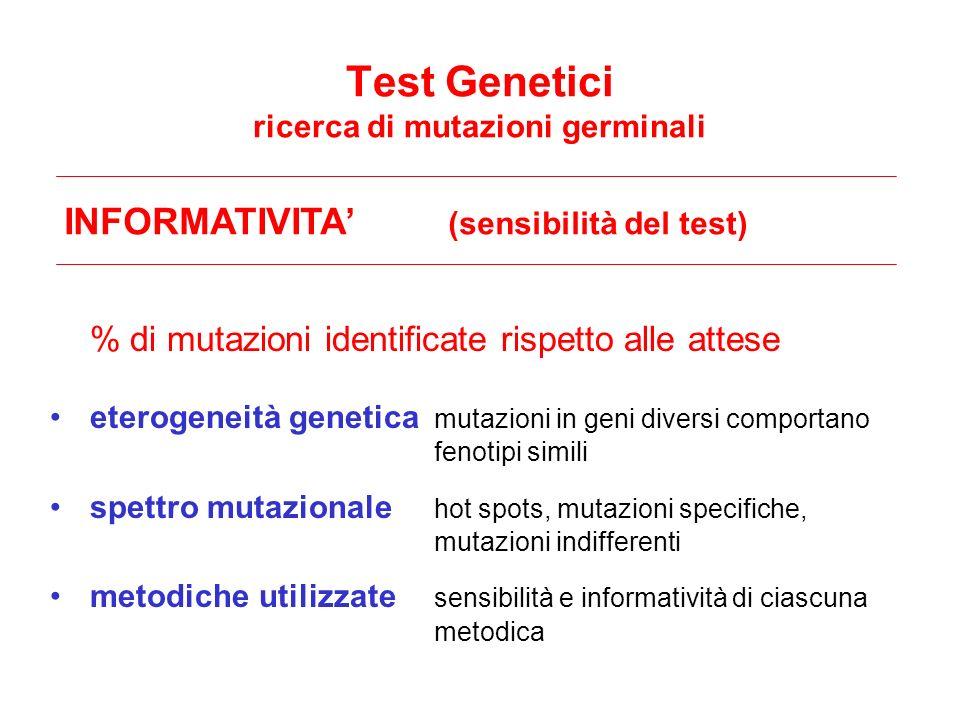 Test Genetici ricerca di mutazioni germinali