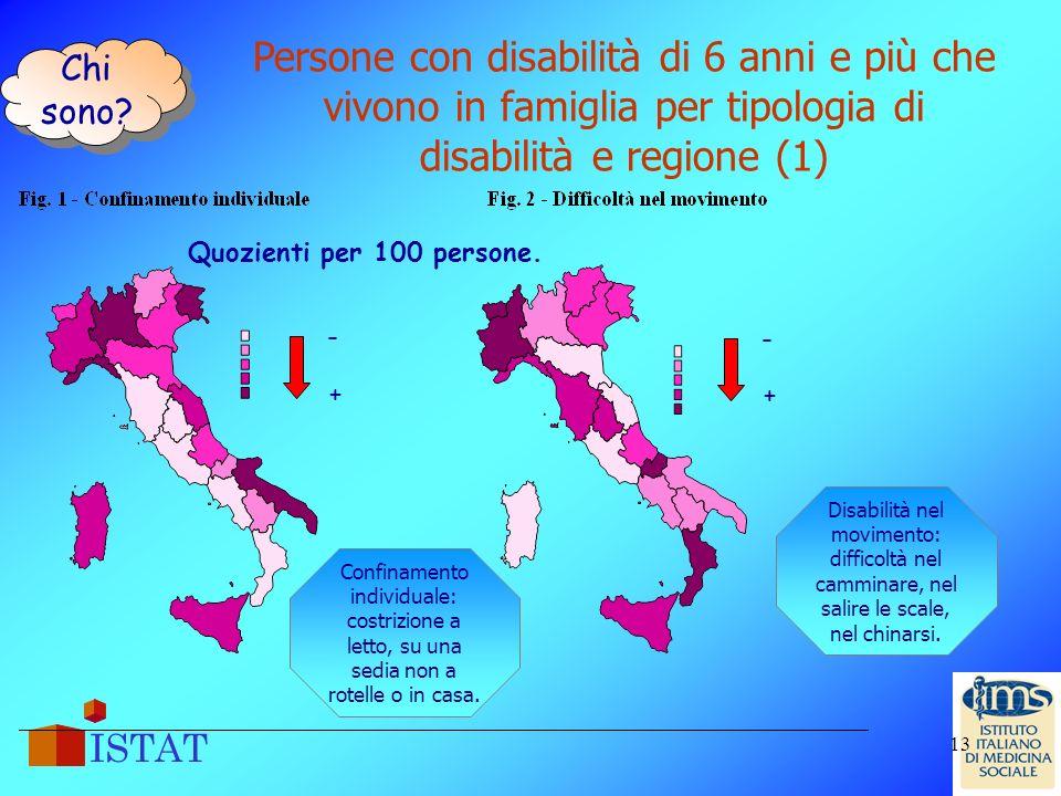 Chi sono Persone con disabilità di 6 anni e più che vivono in famiglia per tipologia di disabilità e regione (1)