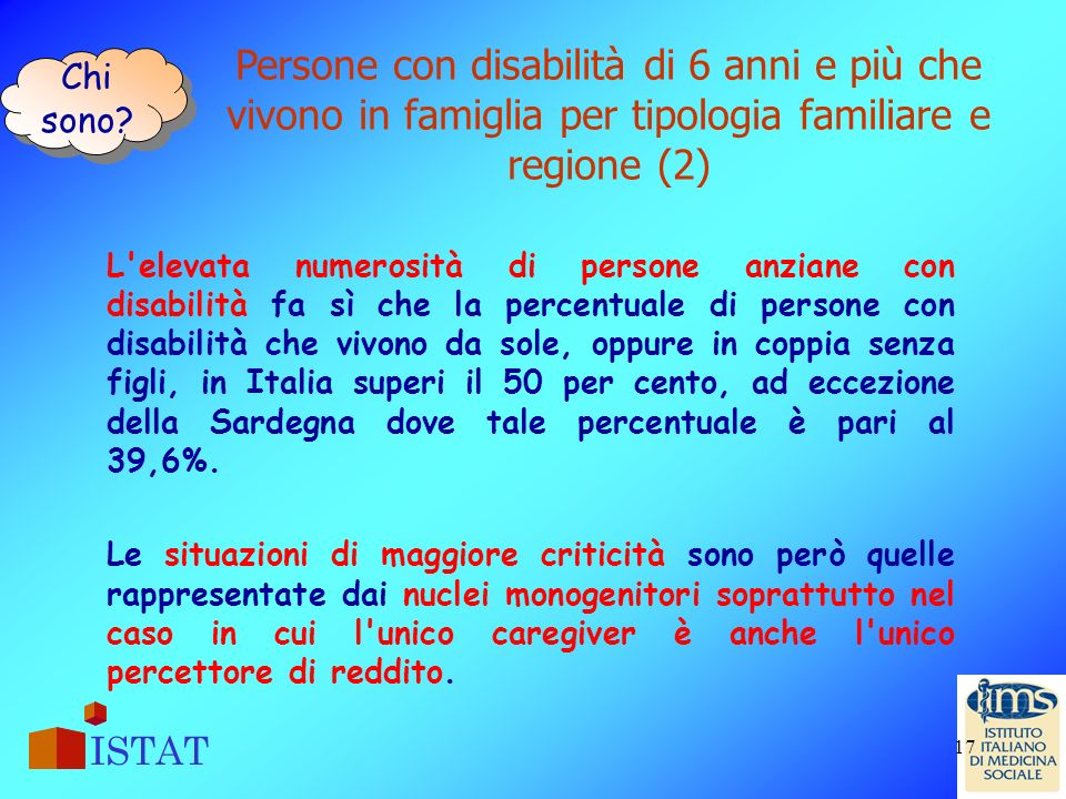Chi sono Persone con disabilità di 6 anni e più che vivono in famiglia per tipologia familiare e regione (2)