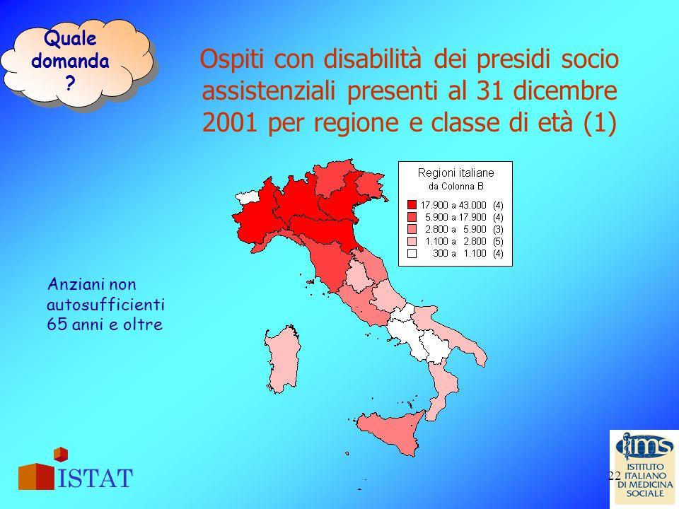 Quale domanda Ospiti con disabilità dei presidi socio assistenziali presenti al 31 dicembre 2001 per regione e classe di età (1)