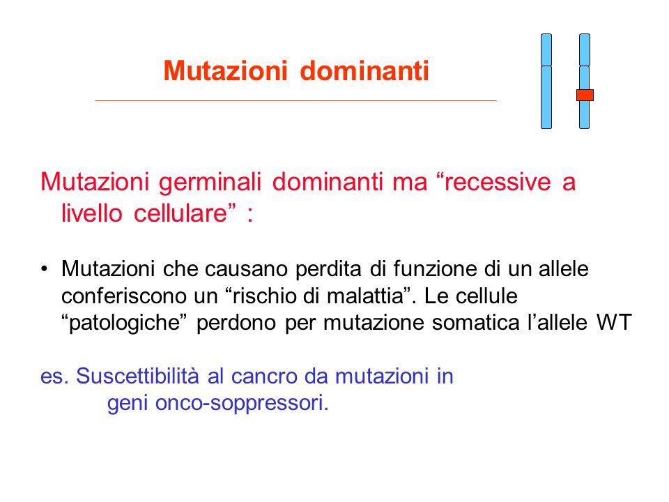 Mutazioni dominanti Mutazioni germinali dominanti ma recessive a livello cellulare :