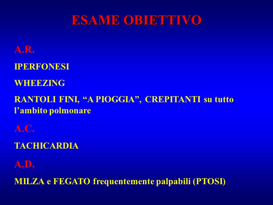 ESAME OBIETTIVO A.R. A.C. A.D. IPERFONESI WHEEZING