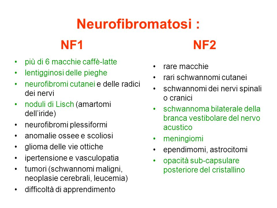 Neurofibromatosi : NF1 NF2