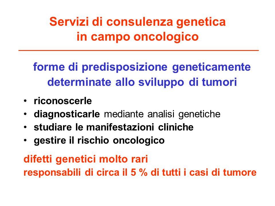 Servizi di consulenza genetica in campo oncologico