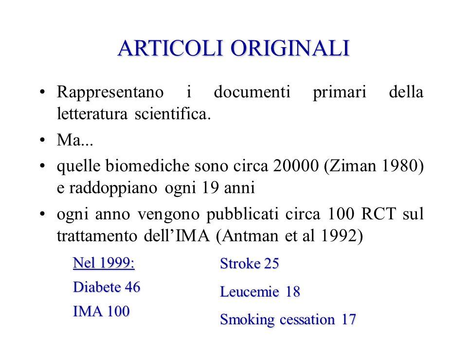 ARTICOLI ORIGINALI Rappresentano i documenti primari della letteratura scientifica. Ma...