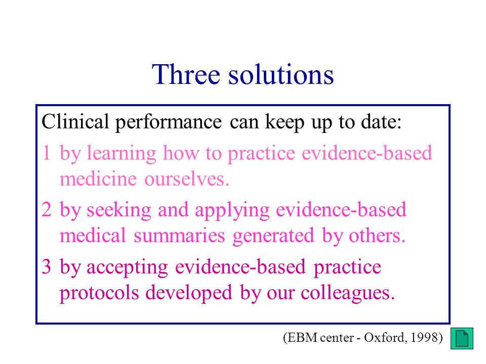 Three solutions Clinical performance can keep up to date: