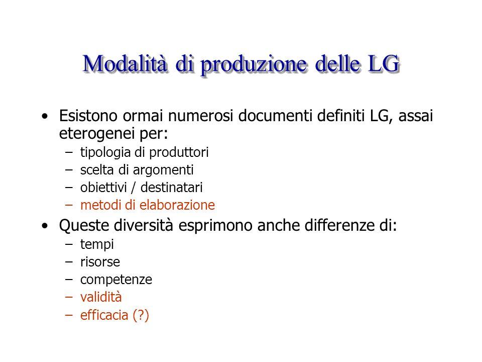 Modalità di produzione delle LG