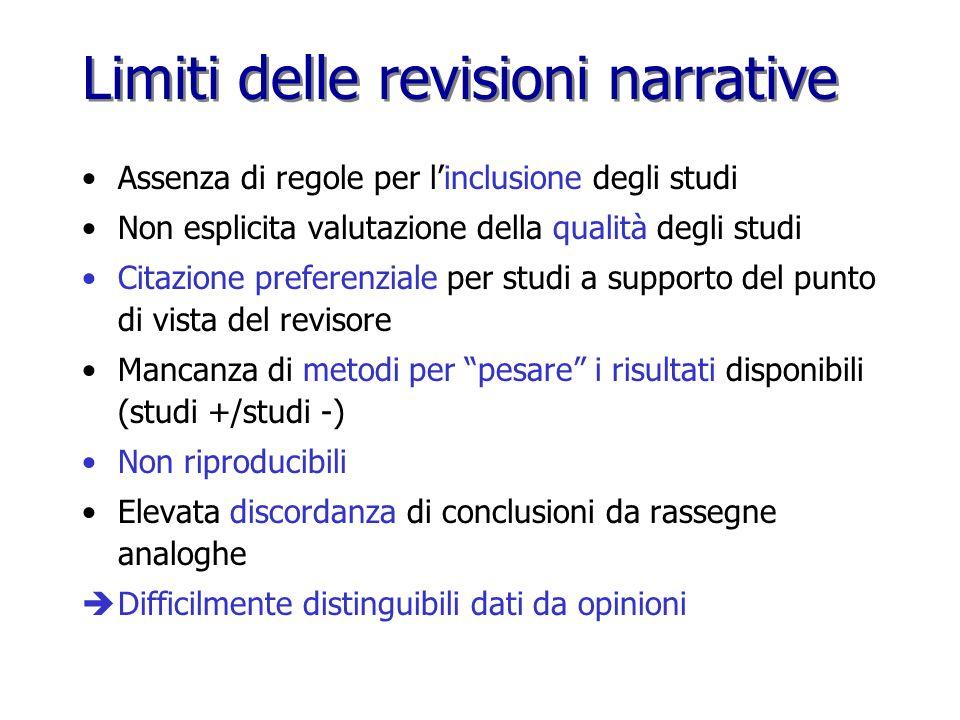 Limiti delle revisioni narrative