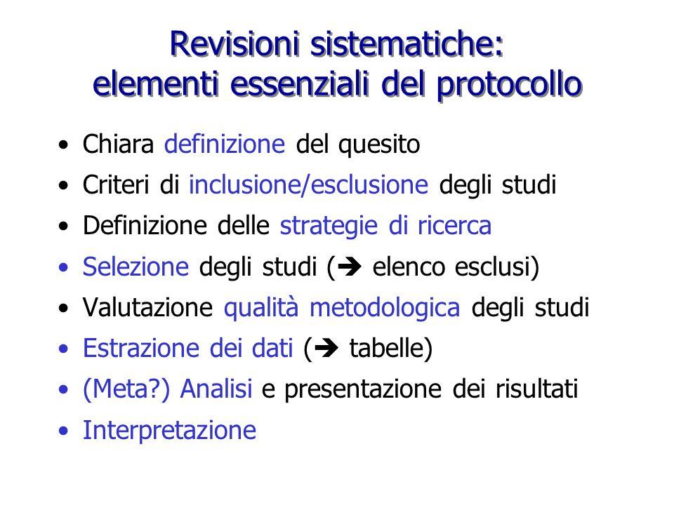 Revisioni sistematiche: elementi essenziali del protocollo
