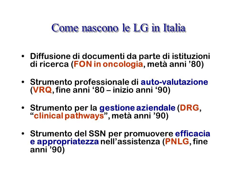 Come nascono le LG in Italia