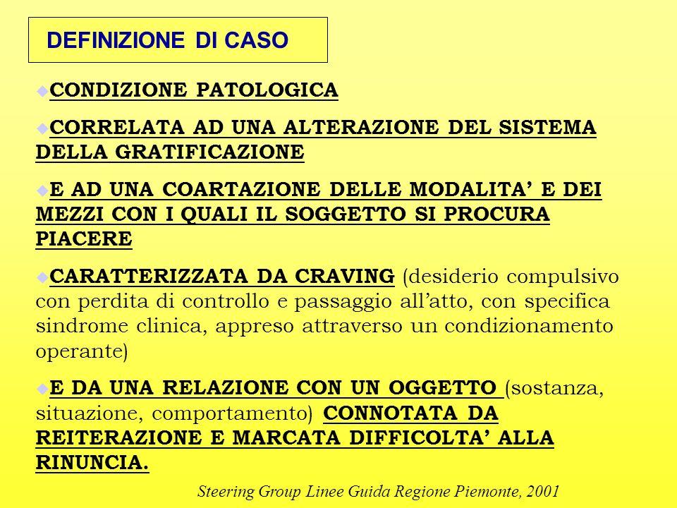 DEFINIZIONE DI CASO CONDIZIONE PATOLOGICA