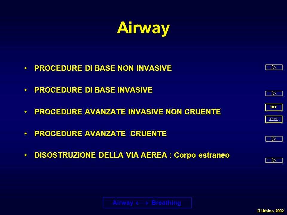 Airway PROCEDURE DI BASE NON INVASIVE PROCEDURE DI BASE INVASIVE