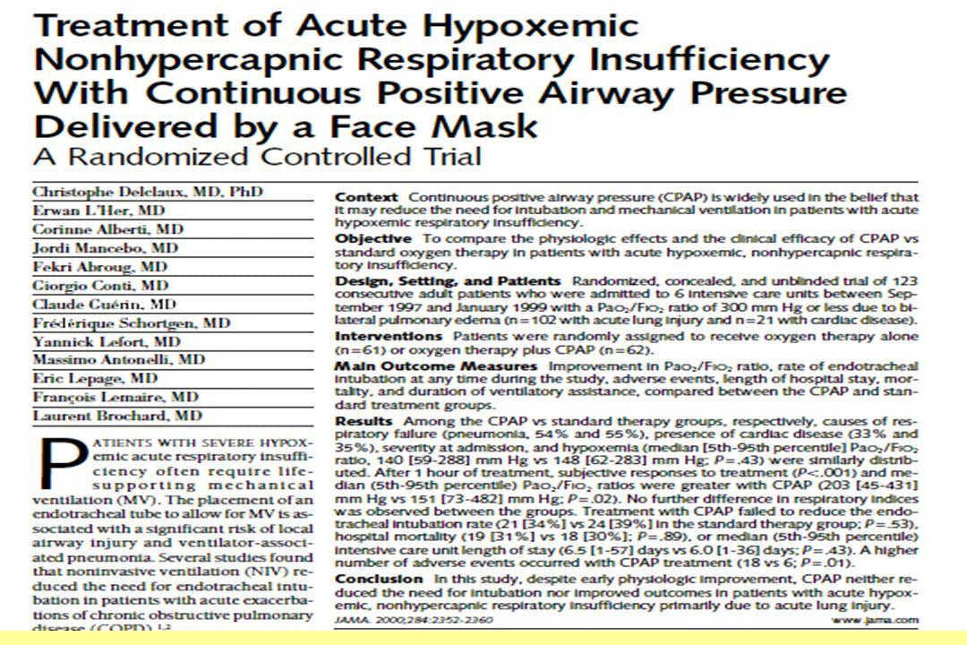 ruolo della CPAP nell ipossiemico generale