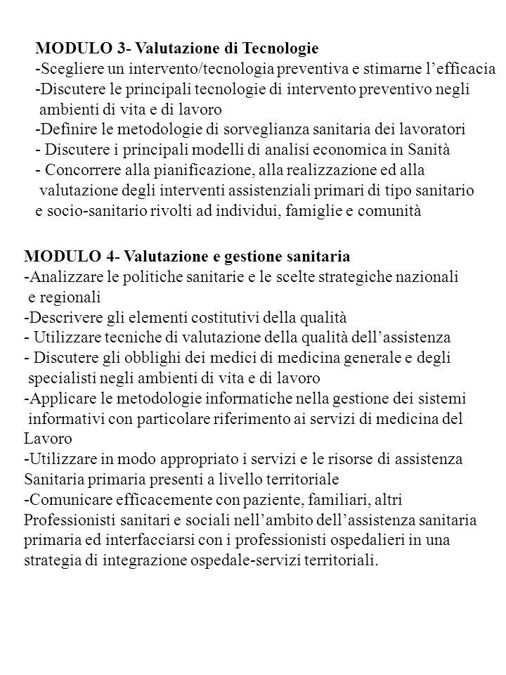 MODULO 3- Valutazione di Tecnologie